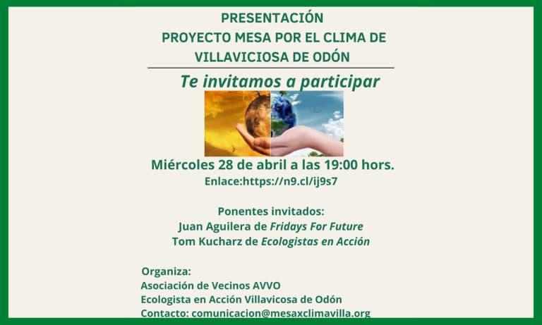 Ecologistas en Acción y AVVO invitan a la «Mesa por el clima»