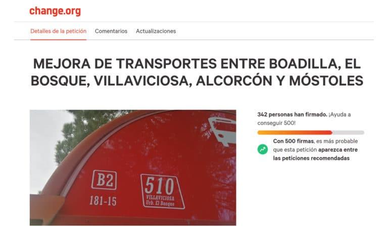 Campaña para pedir la mejora de autobuses entre Boadilla y El Bosque